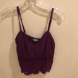 Deep purple crochet tank top